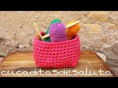 CESTA DE TRAPILLO CUADRADA !! TUTORIAL¡¡ - YouTube Crochet Box, Crochet Fabric, Fabric Yarn, Love Crochet, Crochet Stitches, Crochet Patterns, Cotton Cord, Knit Basket, Crochet Humor