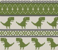 Dino Fair Isle - green (large format) fabric by littlearrowdesign on Spoonflower . - knitting ideas Dino Fair Isle - Green (large scale) fabric by littlearrowdesign on Spoonflower . Always aspired to discover ways to k. Tapestry Crochet Patterns, Fair Isle Knitting Patterns, Fair Isle Pattern, Knitting Charts, Lace Knitting, Knitting Machine, Vintage Knitting, Fabric Patterns, Cross Stitch Borders
