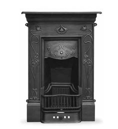Crocus Cast Iron Art Nouveau Style Fireplace by chris Art Nouveau Bedroom, Art Nouveau Furniture, Edwardian Fireplace, Bedroom Fireplace, Fireplace Tiles, Fireplace Mantles, Fireplace Decorations, Cast Iron Fireplace, Gothic House