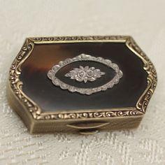 Circa 1900 14K, Tortoise shell & diamond pill box at Pippin Vintage Jewelry