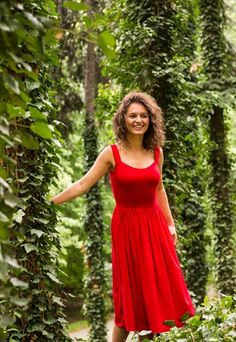 MIDI DRESS ROMAN HOLIDAYS HAPPY RED
