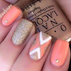 Lightsalmon and glitter inspired nail art