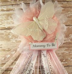 Soft Pink and White Butterfly Mommy To Be Corsage by BloomingParty, $18.00