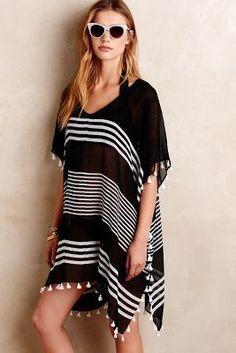 Seafolly Palau Kaftan Black One Size Swimwear #anthropologie #black #white #kaftan #coverup #swimsuit