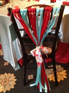 Ribbon Chair Decor. Cute and simple. By The Joseph Smith Memorial Building #weddings #decorations