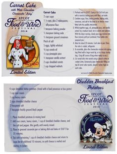 Recipes for Carrot Cake and Cheddar Breakfast Potatoes from the 2014 Epcot International Food & Wine Festival! Retro Recipes, Old Recipes, Vintage Recipes, Wine Recipes, Brunch Recipes, Disney Food Recipes, Disney Desserts, Recipies, Carrot Recipes