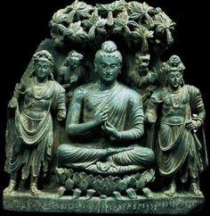 Buddhist Triad, gray schist, Ganhara region, Kushana period (ca. 1st- 3rd c. CE)