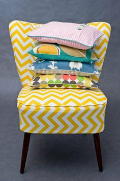 "Cocktail chair 50's ""Yellow Chevron"" from manokede.pl"