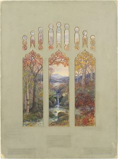 Louis Comfort Tiffany (American, 1848–1933). Design for Autumn Landscape window, 1923. The Metropolitan Museum of Art, New York. Gift of Robert W. de Forest, 1925, transferred from Archives, 1958 (58.658)