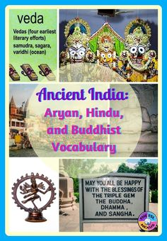 Here are 47 vocabulary words in flashcard & poster sizes that teach about the history, people, places & beliefs of the Aryans and Hinduism & Buddhism in Ancient India. Includes a list of 13 activities for using the words & instructions for a sorting task.