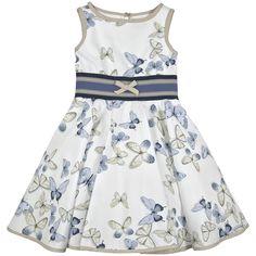 Sleeveless poplin dress - Sky blue and white - 111325