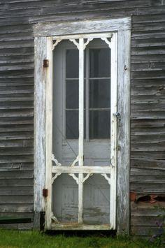 Old Ornate Weathered & Worn Screen Door...