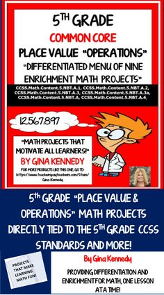 No-prep, 5th Grade Place Value, Decimals and Operations Enrichment Projects Nine fun projects that range from writing about the non-decimal understanding family to creating a place value, decimal biography, Students love these projects that are perfect for early finishers, advanced learners or whole class fun! Common Core aligned, great math/writing connections! Vocabulary handout included. Print and go enrichment!
