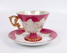Vintage Footed Iridescent Teacup Maroon Gold Pedestal Hand Painted Ornate Gold Handle