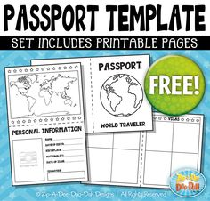 {FREE} Passport Booklet Template Set — Includes 3 Page Templates!