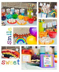 Rainbow birthday party. Candy bowls for candy favors