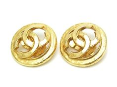 AUTHENTIC VINTAGE CHANEL EARRINGS GOLD CC ROUND  $229.00