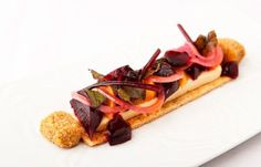 This deconstructed beetroot tart recipe from chef Kevin Mangeolles of The Neptune, is served with delicious Binham blue cheese beignets Tart Recipes, Cooking Recipes, Blue Cheese Recipes, Beignet Recipe, Great Recipes, Favorite Recipes, Great British Chefs, Beignets, Kitchens