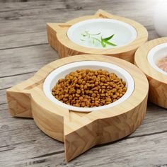 Pet Feeders Bowls for Small Dog and Cat, and Safety Ceramic Bowls with Wooden Cat Ear Shape Stand Raised Dog Bowls, Wooden Cat, Cat Room, Pet Feeder, Pet Furniture, Pet Bowls, Cat Tree, Animal House, Dog Houses