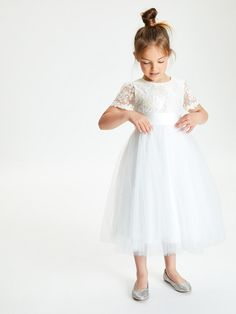 Buy John Lewis & Partners Girls' Short Sleeve Lace Dress, Ivory from our Girls' Dresses range at John Lewis & Partners. Free Delivery on orders over John Lewis Bridesmaid Dresses, Bridesmaid Duties, Bridesmaids, Lace Flower Girls, Flower Girl Dresses, Girls Dresses, Lace Bodice, Lace Dress, Pretty Dresses