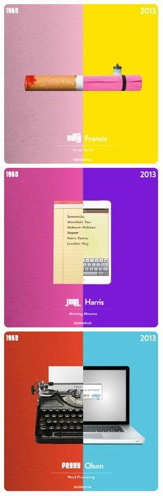 Comparação entre o mundo de Mad Men e o século XXI.  Mais em facebook.com/micaideias