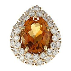 18k Yellow Gold Citrine and 4ct TDW Diamond Cocktail Ring