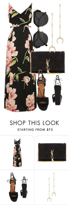 """Untitled #5943"" by laurenmboot ❤ liked on Polyvore featuring Topshop, Yves Saint Laurent, Aquazzura and Shashi"