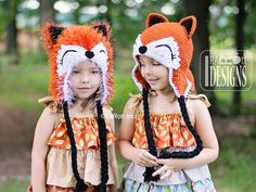 Moxie and Roxy the Red Forest Foxes Hat PDF Crochet Pattern by IraRott inc.