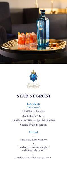 Star Negroni | A step-by-step guide to creating a Star Negroni | 25ml Star of Bombay | 25ml Martini Bitter | 25ml Martini Riserva Speciale Rubino | Orange wheel to garnish