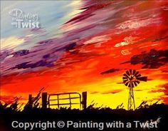 How to Paint Country Sunset - Canvas Painting Farm Paintings, Country Paintings, Sunset Paintings, Acrylic Painting Techniques, Diy Painting, Acrylic Tips, Wine And Canvas, Sunset Canvas, Art Lesson Plans