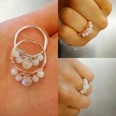 5 little genuine moonstone crystals adorn each of these delicate stackable rings! Made with tarnish-resistant wire. Wire color is available in sterling, silver-tone or rose gold-tone.