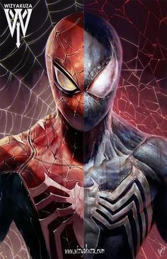 You choose which one you like better? Regular Spidey or Alien. As a symbiote fan you know my answer! Deadpool Und Spiderman, Spiderman Kunst, Black Spiderman, Amazing Spiderman, Marvel Art, Marvel Heroes, Marvel Avengers, Deadpool Wallpaper, Avengers Wallpaper