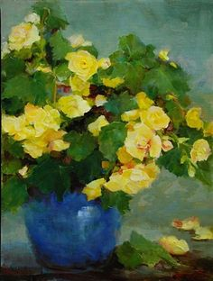 View Yellow Begonias by Kathy Anderson on artnet. Browse more artworks Kathy Anderson from Susan Powell Fine Art. Painting Still Life, Still Life Art, Paintings I Love, Floral Paintings, Art Floral, Illustration Art, Illustrations, Art Moderne, Mellow Yellow