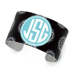"Monogrammed Cuff Bracelet Black Maddie Pattern Lightweight Aluminum Width 1.5"" Multiple Options  Make sure you leave a note during check-out including the color you would like as the background for your monogram, the style of monogram you'd like, your initials, and the order of your initials.  We will monogram the ..."