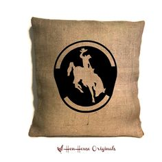 Burlap Cowboy Pillow Cover, Western Home Decor, Rodeo Decor, Rustic Home Decor, Bucking Horse, Cowboy, Horse Lover Gift on Etsy, $24.00