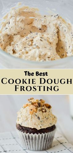 This chocolate chip cookie dough frosting is a simple and classic frosting for filling cakes, cookies, and topping cupcakes. Plus, with only a handful of ingredients this quick and easy buttercream recipe can be made in less than 10 minutes! Mini Desserts, Just Desserts, Delicious Desserts, Yummy Food, Tasty, Healthy Food, Health Desserts, Healthy Recipes, Cookie Dough Vegan