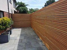 Modern Backyard, Backyard Patio Designs, Backyard Landscaping, Contemporary Fencing, Contemporary Garden Design, Larch Cladding, Back Garden Design, Garden Seating, Modern Wood Fence