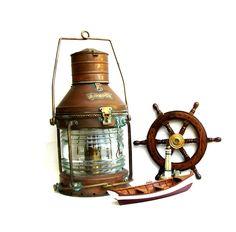 Vintage Ships Lantern Nautical Anchor Copper & Brass Maritime Oil Lamp. $346.00, via Etsy.
