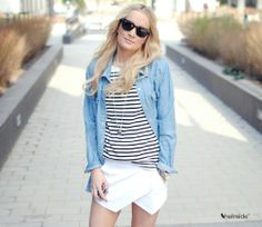 White shorts, striped shirt, denim shirt/jacket. Love it when I have all these pieces in my wardrobe!