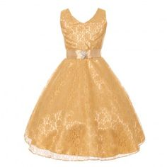 An amazing junior bridesmaid special occasion dress from Shanil Inc. With a girly polished style, great embellishment and cut in elaborate material, this junior bridesmaid dress will complete a chic and stylish attire. The gold sleeveless dress has a broo