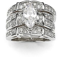 choucong Deluxe Lovers Diamonique Cz 14KT White Gold Filled 3 Wedding Ring Set Sz 5-11 Free shipping Gift