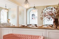 Pastels, London More formal than we're looking towards, but here's architectural floral in pastel historical. http://www.remodelista.com/posts/pretty-in-pink-spring-restaurant-in-london-in-somerset-house-chef-skye-gyngell