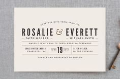 """""""Classic Type"""" - Simple, Bold typographic Wedding Invitation Petite Cards in Mocha by Pistols."""
