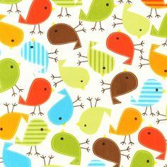 boy or girl fabric birds urban zoologie