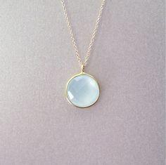 Sea Foam Chalcedony Pendant Necklace