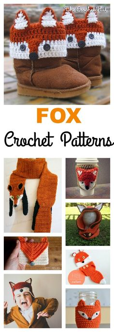 Crochet Projects Patterns 10 Crochet Fox Patterns - Fox crochet items can be very adorable. Here is a small collection of Crochet Fox Patterns that are quick to make and give to someone special in your life. Crochet Boot Cuffs, Crochet Boots, Crochet Mittens, Crochet Stitches, Mittens Pattern, Baby Mittens, Crochet Beanie, Crochet Diy, Crochet For Kids