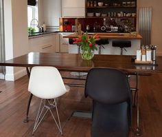 Black and white Vitra dining chairs