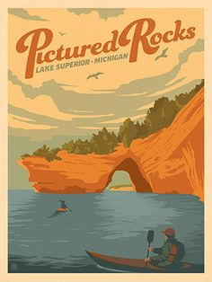 Pictured Rocks, MI: Lake Superior - Anderson Design Group has created an award-winning series of classic travel posters that celebrates the history and charm of America's greatest cities and national parks. Founder Joel Anderson directs a team of talented National Park Posters, National Parks, Vw Vintage, Vintage Hawaii, Picture Rocks, Armadura Medieval, Classic Artwork, Room Posters, Movie Posters