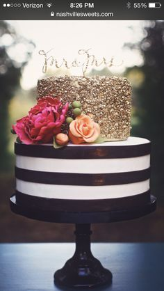 Black & White stripped cake with gold sequin from Nashville Sweets