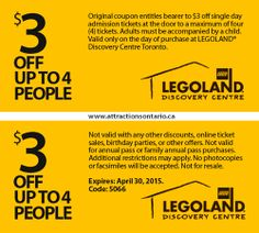 ATTRACTIONS ONTARIO - $3 Off Legoland Discovery Centre. Steve Pacheco Real Estate. More coupons: bit.ly/1hupagH Ontario Attractions, Admission Ticket, Legoland, Singles Day, Discovery, Coupons, Toronto, Centre, Real Estate